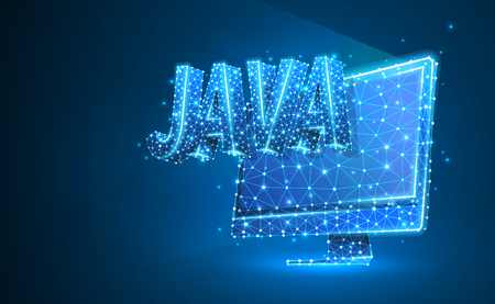 JAVA coding language on monitor screen. Device, programming, developing concept. Abstract, digital, wireframe, low poly mesh, vector blue neon 3d illustration. Triangle, line, dot, star  イラスト・ベクター素材