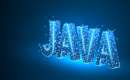 JAVA coding language text. Device, programming, developing concept. Abstract, digital, wireframe, low poly mesh, vector blue neon 3d illustration. Triangle, line, dot, star