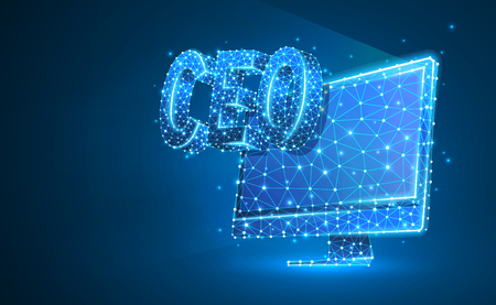 Chief Executive Officer, CEO on monitor screen. Device, leadership, headship concept. Abstract, digital, wireframe, low poly mesh, vector blue neon 3d illustration. Triangle, line, dot, star  イラスト・ベクター素材