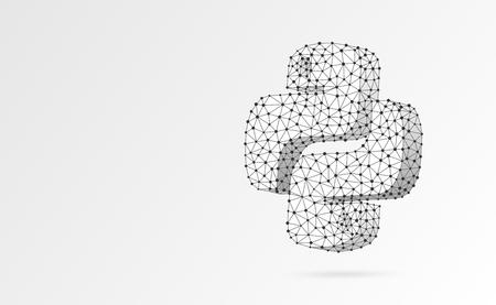 Znak języka kodowania Python. Urządzenie, programowanie, opracowanie koncepcji. Streszczenie, cyfrowe, model szkieletowy, siatka low poly, wektor biały origami ilustracja 3d. Trójkąt, linia, kropka, gwiazda Ilustracje wektorowe