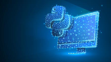 Linguaggio di codifica Python segno sul monitor del computer. Dispositivo, programmazione, concetto di sviluppo. Astratto, digitale, wireframe, mesh low poly, illustrazione 3d al neon blu vettoriale. Triangolo, linea, punto, stella