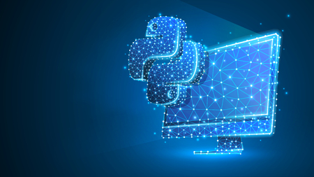 Python codeertaal teken op computermonitor. Apparaat, programmeren, concept ontwikkelen. Abstract, digitaal, wireframe, laag poly mesh, vector blauwe neon 3d illustratie. Driehoek, lijn, punt, ster