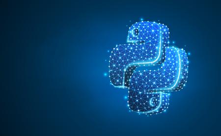 Znak języka kodowania Python. Urządzenie, programowanie, opracowanie koncepcji. Streszczenie, cyfrowe, model szkieletowy, siatka low poly, ilustracja wektorowa niebieski neon 3d. Trójkąt, linia, kropka, gwiazda Ilustracje wektorowe