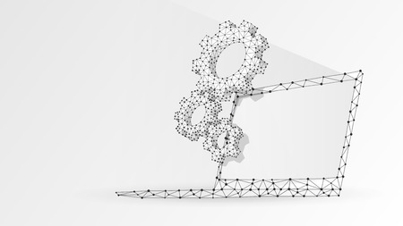 Gears on white laptop screen. Industry, business solution, technology, settings concept. Abstract, digital, wireframe, low poly mesh, vector white origami 3d illustration. Triangle, line, dot, star