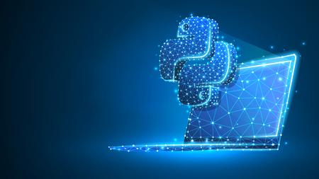 Linguaggio di codifica Python segno sullo schermo del notebook. Dispositivo, programmazione, concetto di sviluppo. Astratto, digitale, wireframe, mesh low poly, illustrazione 3d al neon blu vettoriale. Triangolo, linea, punto, stella Vettoriali