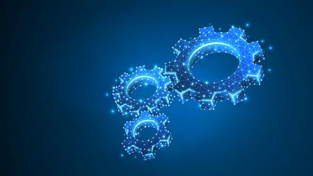 Koła zębate. Przemysł, rozwiązanie biznesowe, technologia mechaniczna, koncepcja budowy maszyn. Streszczenie, cyfrowe, model szkieletowy, siatka low poly, ilustracja wektorowa niebieski neon 3d. Trójkąt, linia, kropka, gwiazda