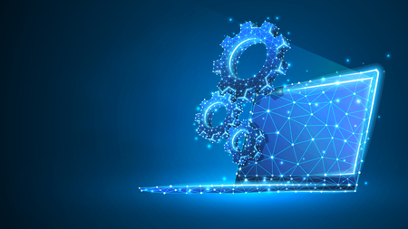Gears on white laptop screen. Industry, business solution, technology, settings concept. Abstract, digital, wireframe, low poly mesh, vector blue neon 3d illustration. Triangle, line, dot, star  イラスト・ベクター素材