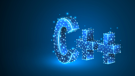C plus coding language sign. Device, programming, developing concept. Abstract, digital, wireframe, low poly mesh, vector blue neon 3d illustration. Triangle, line, dot, star