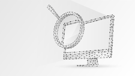 Magnifying glass on computer monitor. Internet surfing, Analysis, Search symbol. Abstract digital wireframe, low poly mesh, polygonal vector white origami 3d illustration. Triangle, line, dot 向量圖像