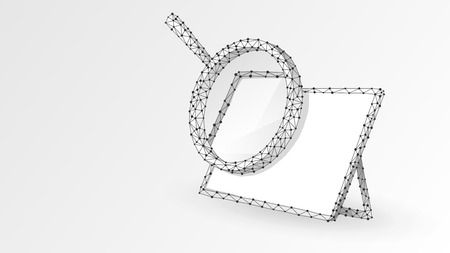 Magnifying glass on white screen of Graphic Tablet. Internet surfing, Analysis, Search symbol. Abstract digital wireframe, low poly mesh, polygonal vector origami 3d illustration. Triangle, line dot