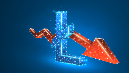 Downtrend red arrow Litecoin cryptocurrency chart. Business, data cash crisis, digital finance concept. Abstract, digital, wireframe low poly mesh vector blue neon 3d illustration. Triangle line dot 向量圖像