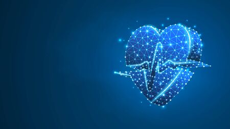 Heart with pulse line. Polygonal technology concept of healthcare, cardio check. Abstract, digital, wireframe low poly mesh vector blue neon 3d illustration. Triangle line dot Vector Illustration