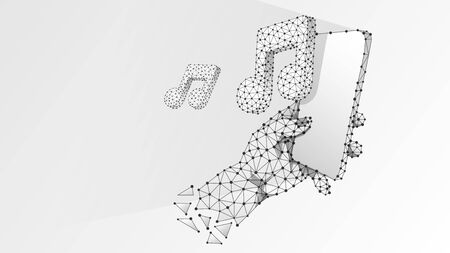 Phone in a hand playing music. Polygonal technology of device, note, sound, smartphone player concept. Abstract, digital wireframe low poly mesh vector white origami 3d illustration. Triangle line dot