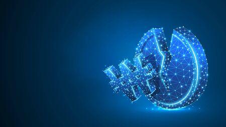 Broken Coin, South Korean Won currency. Polygonal money, unstable finance, market crash, broken circle. Abstract, digital, wireframe low poly mesh vector blue neon 3d illustration. Triangle line dot Illustration