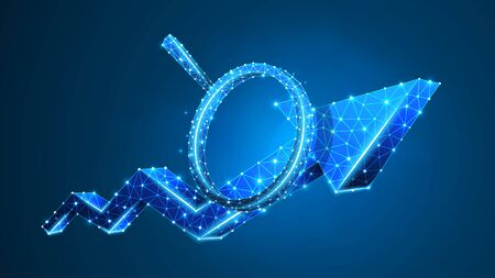 Magnifying glass on Growth chart arrow. Market success analysis, infographic reserch concept. Abstract, digital, wireframe, low poly mesh, Polygonal Vector blue neon 3d illustration. Line dot Ilustração