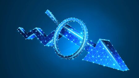 Magnifying glass on Downtrend arrow. Market crisis analysis, infographic reserch concept. Abstract, digital, wireframe, low poly mesh, Polygonal Vector blue neon 3d illustration. Line dot