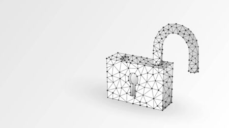 Unlocked Lock. Cyber protection technology, open access, safety concept. Abstract, digital, wireframe, low poly mesh, vector white origami 3d illustration. Triangle line dot