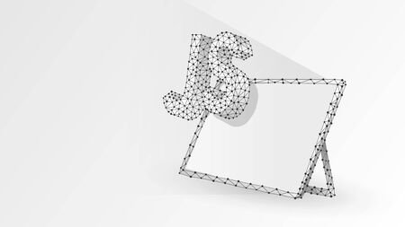 Java Script coding language sign on white tablet screen. Device, programming, developing concept. Abstract, digital, wireframe, low poly mesh, vector white origami 3d illustration. Line dot Ilustração