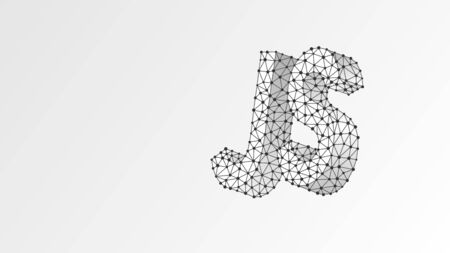 Java Script coding language text. Device, programming, developing concept. Abstract, digital, wireframe, low poly mesh, vector white origami 3d illustration. Triangle line dot