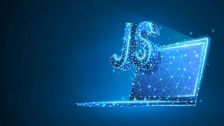 Java Script coding language sign on notebook screen. Device, programming, developing concept. Abstract, digital, wireframe, low poly mesh, vector blue neon 3d illustration. Line dot