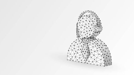 Support manager, office worker profile symbol. User portrait, employee sign, business pass concept. Abstract, digital, wireframe, low poly mesh, Vector white origami 3d illustration. Triangle line dot