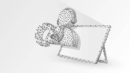 Support manager silhouette with a gear on a tablet screen. Consultant, problem-solution engine concept. Abstract, digital, wireframe, low poly mesh, vector white origami 3d illustration. Line dot
