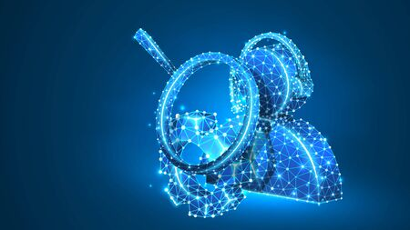 Magnifying glass. Gear, Support manager. Consultation analytics, problem-solution analysis technology concept. Abstract, digital, wireframe, low poly mesh, vector blue neon 3d illustration. Line dot Ilustração