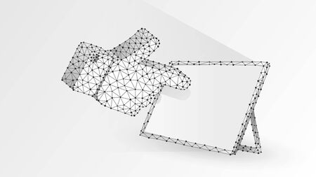 Human hand silhouette pointing on a white tablet screen. Touchscreen, finger click concept. Abstract, digital, wireframe, low poly mesh, vector white origami 3d illustration. Line dot