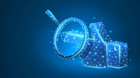 Magnifying glass on a Hand silhouette, pointing finger. Direction analysis, business way, touch screen concept. Abstract, digital, wireframe, low poly mesh, vector blue neon 3d illustration. Line dot