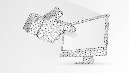 Human hand silhouette pointing on a white computer monitor. Touchscreen, finger click concept. Abstract, digital, wireframe, low poly mesh, vector white origami 3d illustration. Line dot