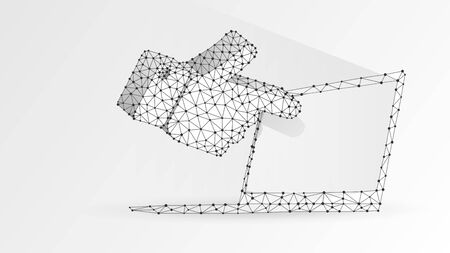 Human hand silhouette pointing on a white notebook screen. Touchscreen, finger click concept. Abstract, digital, wireframe, low poly mesh, vector white origami 3d illustration. Line dot