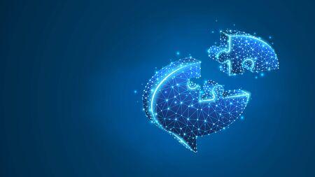 Chat bubble Jigsaw Puzzle. Social Network, dialogue symbol, communication cloud concept. Abstract, digital, wireframe, low poly mesh, vector blue neon 3d illustration. Line dot Ilustração