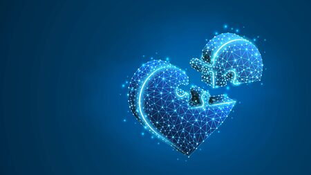 Heart Jigsaw Puzzle. Valentines day connecting people hearts, Medicine cardiology health help concept. Abstract, digital, wireframe, low poly, mesh, vector blue neon 3d illustration. Line dot