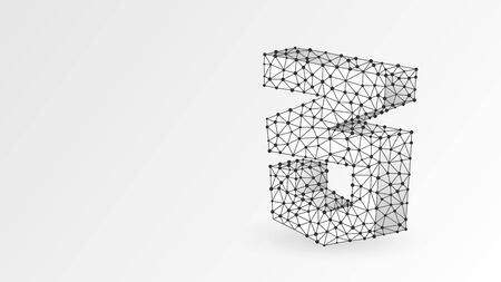 CSS coding language sign. Device, programming, developing concept. Abstract, digital, wireframe, low poly mesh, vector white origami 3d illustration Triangle line, dot  イラスト・ベクター素材