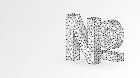 Segno di numero, abbreviazione tipografica della parola numero. No, no simbolo concetto. Astratto, digitale, wireframe, maglia bassa di poli, illustrazione 3d di origami bianco di vettore. Triangolo, punto linea