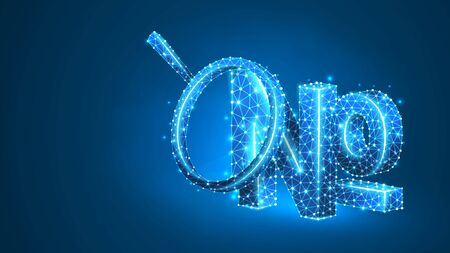 Magnifying glass Analysis of Numero sign, typographic abbreviation of the word number. No, nos symbol concept. Abstract, digital, wireframe, low poly mesh, vector blue neon 3d illustration. Line dot