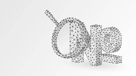 Magnifying glass Analysis of Numero sign, typographic abbreviation of the word number. No, nos symbol concept. Abstract, wireframe, low poly mesh, vector white origami 3d illustration. Line dot
