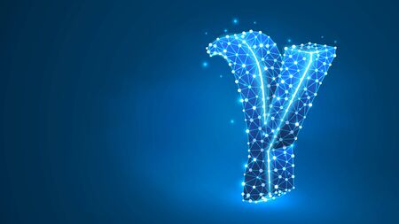 Gamma, the third letter of a Greek alphabet. Greek numerals, mathematical number three concept. Abstract, digital, wireframe, low poly mesh, vector blue neon 3d illustration. Triangle, line dot