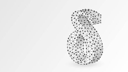 Delta, the letter of a Greek alphabet. Greek numerals, mathematical number four concept. Abstract, digital, wireframe, low poly mesh, vector white origami 3d illustration. Triangle, line dot 向量圖像