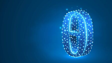 Theta, the letter of a Greek alphabet. Greek numerals, mathematical number nine concept. Abstract, digital, wireframe, low poly mesh, vector blue neon 3d illustration. Triangle, line dot