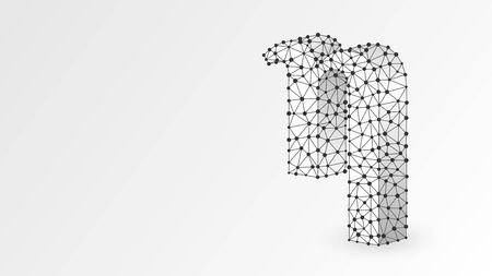 Eta, the letter of a Greek alphabet. Greek numerals, mathematical number eight concept. Abstract, digital, wireframe, low poly mesh, vector white origami 3d illustration. Triangle, line dot 向量圖像