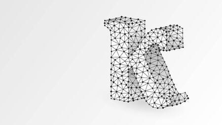 Kappa, the letter of a Greek alphabet. Greek numerals, mathematical number twenty concept. Abstract, digital, wireframe, low poly mesh, vector white origami 3d illustration. Triangle, line dot