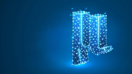 Mu, the letter of a Greek alphabet. Greek numerals, mathematical number forty concept. Abstract, digital, wireframe, low poly mesh, vector blue neon 3d illustration. Triangle, line dot Banco de Imagens - 128853004
