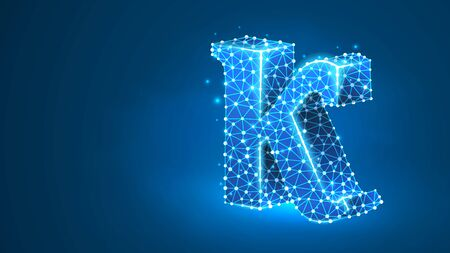 Kappa, the letter of a Greek alphabet. Greek numerals, mathematical number twenty concept. Abstract, digital, wireframe, low poly mesh, vector blue neon 3d illustration. Triangle, line dot