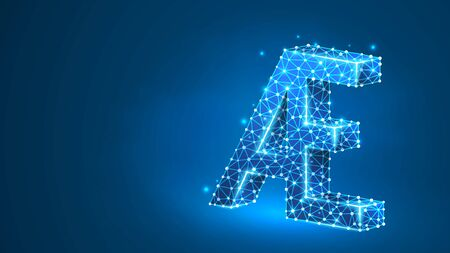 Initial based clean AE letter symbol. Universal elegant luxury alphabet aesh letter concept design. Abstract, digital, wireframe, low poly mesh, vector blue neon 3d illustration. Triangle, line, dot Ilustração
