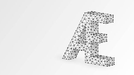 Initial based clean AE letter symbol. Universal elegant luxury alphabet aesh letter concept design. Abstract, digital, wireframe, low poly mesh, vector white origami 3d illustration. Line, dot Ilustração