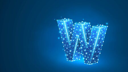 Letter w. World wide web, domain, www, internet, web address, online, website, profile, technology concept. Abstract, digital, wireframe, low poly mesh, vector blue neon 3d illustration. Line, dot Stok Fotoğraf - 132028810