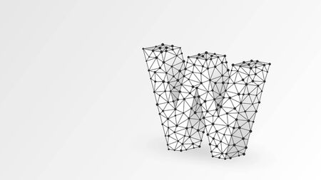 Letter w. World wide web, domain, www, internet, web address, online, website, profile, technology concept. Abstract, digital, wireframe, low poly mesh, vector white origami 3d illustration. Line, dot
