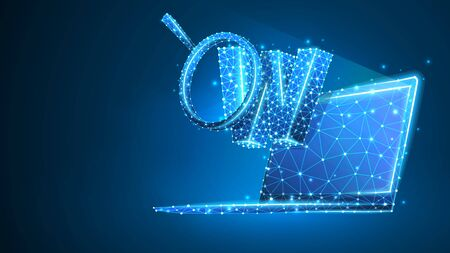 Magnifying glass analytics of letter W on notebook screen. World wide web analysis, domain search concept. Abstract, digital wireframe, low poly, mesh Raster blue neon 3d illustration. Line, dot