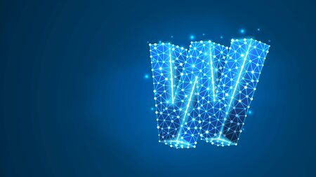 Letter w. World wide web, domain, www, internet, web address, online, website, profile, technology concept. Abstract, digital, wireframe, low poly mesh, vector blue neon 3d illustration. Line, dot